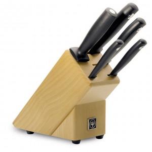 Блок с ножами (нож для овощей 8 см, нож универсальный 12 см, нож для хлеба 20 см, мусат 18 см, нож шеф-повара 18 см)