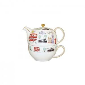 """Набор чайник с крышкой и чашкой в подарочной упаковке,""""Путешествие по Лондону"""", 0,48 л"""